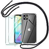 AROYI Funda con Cuerda Compatible con iPhone 12 Mini 5.4 Pulgada y 2 Pack Cristal Templado,Negro