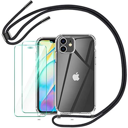 AROYI Funda con Cuerda Compatible con iPhone 12 Mini 5.4 Pulgada y 2 Pack Cristal Templado, Negro