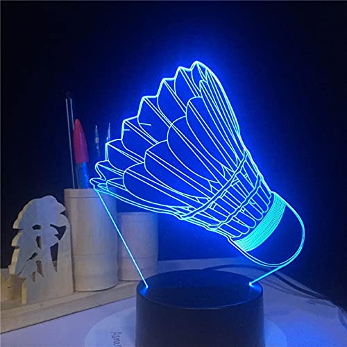 QAIXP 3D Nachtlicht Badminton 7 Farbwechsel 3D Lampe Remote Touch Schalter 3D Leuchten Weihnachtsgeschenk für Rom Lichter Led Nachtlicht AW-2056 beste Geschenk Spielzeug
