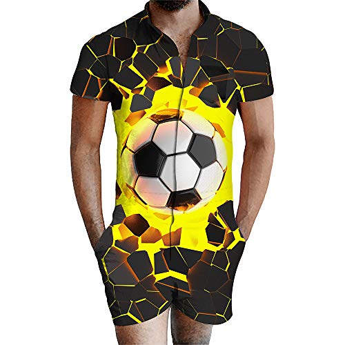 Blwz Siamesi Jumpsuit voor heren, korte mouwen, 3D Football Print Summer Felpe Slim Fit zomer jumpers Outdoor Leisure S-3XL