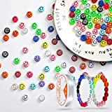 Estune 300 Pieces Smile Face Beads DIY Happy Face Beads Bracelet Beads Round Acrylic Colorful Face Beads with 5.5 Yard Stretch Cord for DIY Jewelry Bracelet Earring Necklace Craft Making Supplies
