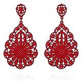FAMILIZO Moda de señora elegante del oído del Rhinestone Flor Stud caliente 1 par (Rojo)
