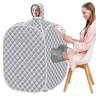 SEAAN Portable Steam Sauna,2.6L Steamer with Folding Chair,Foldable Lightweight Tent,Personal Home Full Body Spa for Weight Loss Detox Therapy