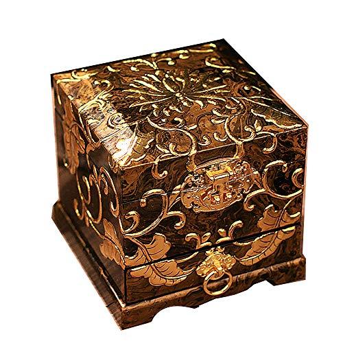 Haihf Sieradenkistje van Chinees hout, pingyao-doosje, nagellak, drie lagen sieraden, opbergdoos voor kleding, opbergen