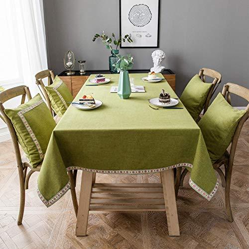 BKPH Mantel de Lino para Mesa de Comedor Rectangular Diseño de Jacquard, Mantel de Algodón y Lino Impermeable Antimanchas, Cubierta de Mesa Lavable Resistente al Aceite-Verde-100x100cm