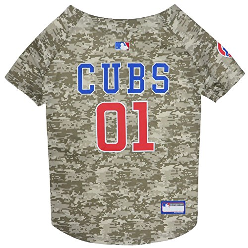 MLB Chicago Cubs Hunde-Trikot, Größe XS, Tarnmuster, erhältlich in 5 Größen und in 7 heißen MLB-Teams