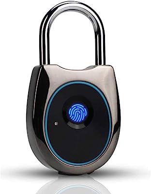 Fingerprint Padlock, No APP Electric Fingerprint Lock Locker, Metal Biometric Thumbprint Lock, Smart Touch Lock for Gym, School Locker,Backpack,Suitcase,Gym,Bike,USB Charging (Black)