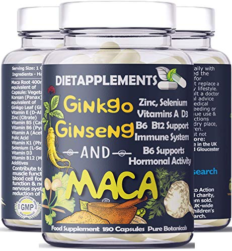 Maca Root 4000mg, Ginkgo Biloba, Korean Red (Panax) Ginseng - 4256mg 180 Vegan Capsules - Zinc, Vitamins D3, E, B5, B6, B12, A, K, Folic Acid, Selenium for Immune System Hormonal Activity. 1 Bottle.