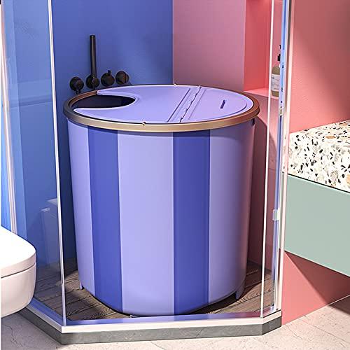 Barril De Bañera Plegable para Adultos con Tapa Cabina De Ducha Bañera Plegable Bañera De Natación Rosa(Size:76x65cm,Color:púrpura)