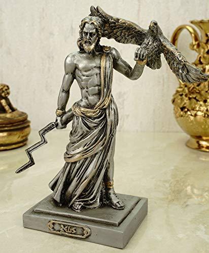 Alabaster Escultura Zeus el Padre del Dios (18 cm), Color Plateado