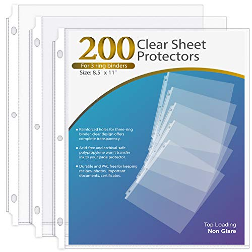 Ktrio Sheet Protector 8.5 x 11 Inches Non-Glare Clear Page Protectors, Plastic Sleeves for Binders, Paper Protector for 3 Ring Binder Letter Size Top Loading, 200 Pack