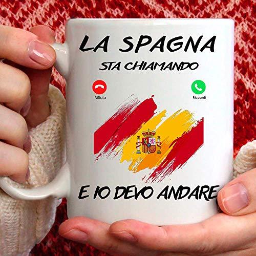 Taza España, apta para desayuno, té, tisana, café, capuchino. Gadget Taza la España Mi Sta llamando y yo debo Andare. Idea regalo original