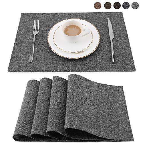Balcony & Falcon Lot de 4 Sets de Table lavables résistants à la Chaleur pour la Cuisine (Gris)