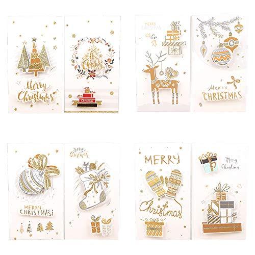 Topdo 8X Tarjeta de Felicitación Navidad con Papel Sobres para Navidad Fiesta Greeting Card Cumpleaños Boda Postal Regalo Año Nuevo 21.7 * 12cm Elementos navideños