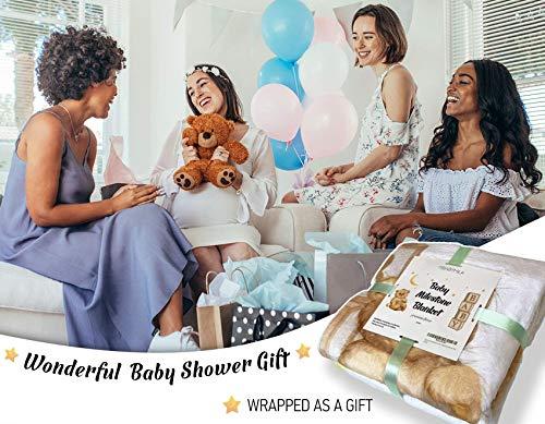 Baby Milestone Blanket for Boy and Girl, Monthly Blanket Unique for New Mom, Extra Soft Fleece Month Blanket, Gender Neutral Design, Newborn Gift Set Includes Bandana Bib+2Frames