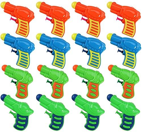 LATERN 16Pcs Pistolas De Agua para Niños, 10cm Juguete Plástico De Pistolas De Agua para La Playa De Piscina De Verano del Jardín Al Aire Libre, Juguetes para Niños Edad 3 4 5 6 7 8 9+ (4 Colores)