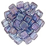 Czechmate 6mm Square Glass Czech Two Hole Tile Bead - Luster Transparent Amethyst