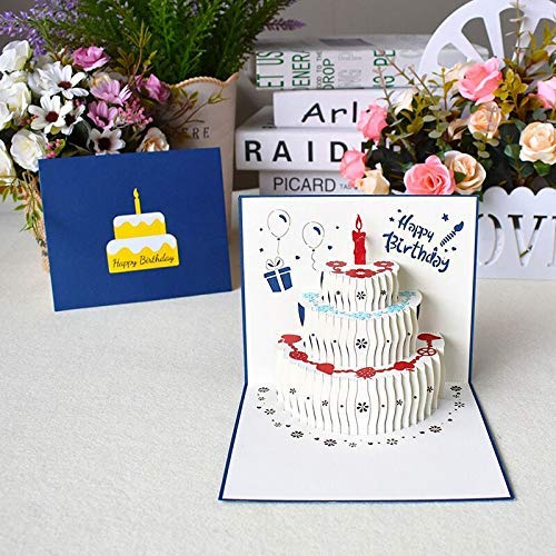 Geburtstagskarte 3D Pop up Grußkarte, Glückwunschkarten geburtstag, handgefertigt Geschenkkarte (Blau 13X15CM)