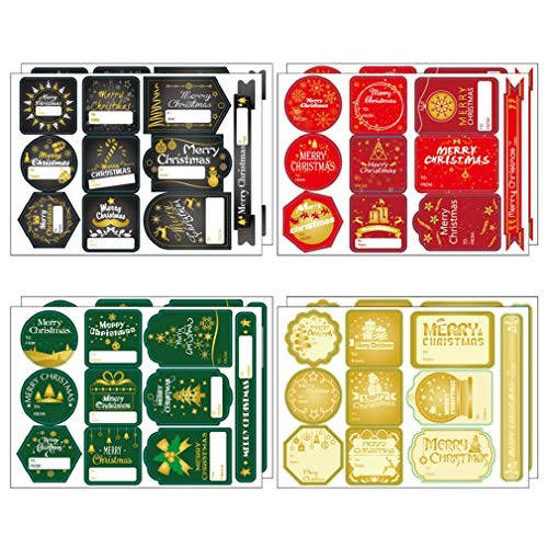 240pcs Gift Tag Stickers Winter Holiday Christmas Theme Name Labels Decals Decor for All Holiday Wrapping, Classic Red, Green and Gold Xmas Spirit Designs