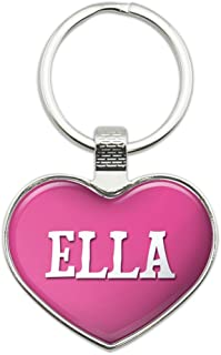 Metal Keychain Key Chain Ring Pink I Love Heart Name E-I - Ella