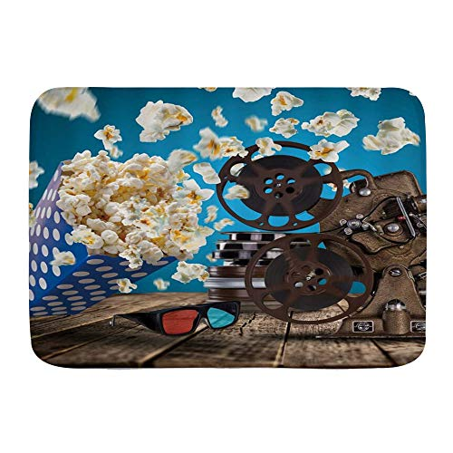 Amknu Alfombrillas para baño, Película Palomitas de maíz Proyector Película 3D Gafas Mesa de Madera,con Respaldo Antideslizante,29.5'X17.5'