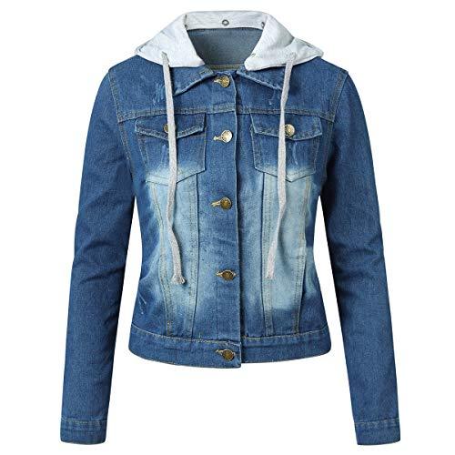 YYNUDA Kurtka dżinsowa damska krótka kurtka przejściowa z odpinanym kapturem denim lekka kurtka niebieska