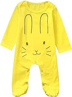 Unisex Baby Romper Baby Girls Boys Cute Cartoon Rabbit Printed Jumpsuit Long Sleeve Bodysuit Onesies for 0-24 Months