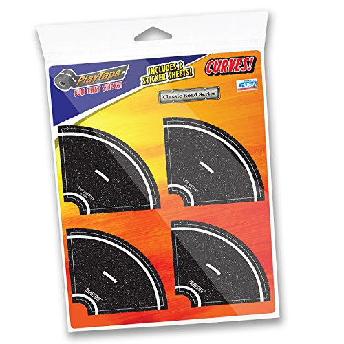"""PlayTape 2"""" Tight Curves 8 Pack – Road Car Tape Great for Kids, Sticker Roll for Cars and Train Sets, Stick to Floors and Walls, Quick Cleanup, Children Toys Birthday Gift"""