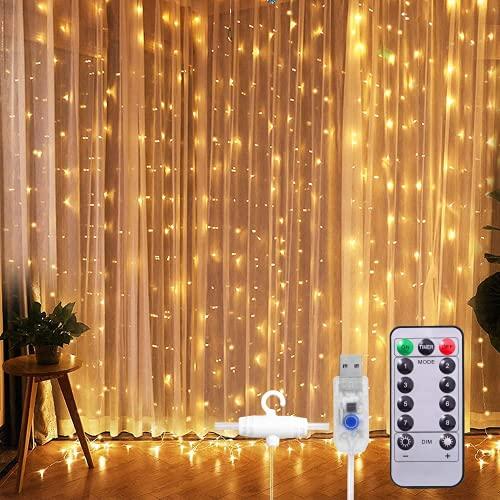SUNNEST LED Lichterketten Lichtervorhang 300 LEDs USB Vorhanglichter String Light 8 Modi mit Fernbedienung Timer IP68 für Deko Innenbeleuchtung (Warmweiß)