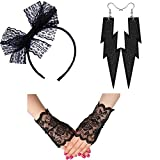 Womens Lace Headband Neon Earrings Fingerless Gloves for 80's Party Pop Diva Costume Accessories (Gloves Headband Set Black)