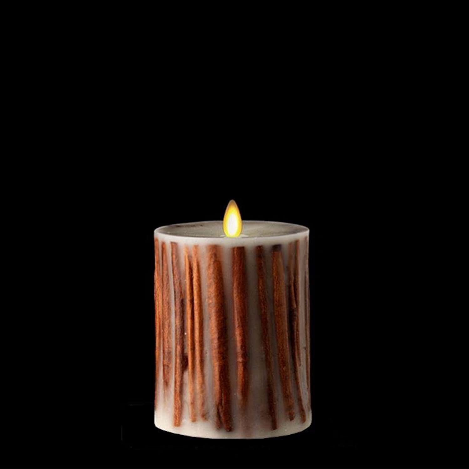 Liown 36070 - 5  Cinnamon Stick Ivory LED Wax Battery Operated Pillar Candle with Timer