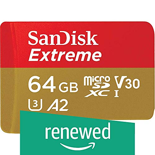 SanDisk Extreme - Tarjeta de memoria microSDXC de 64 GB, A2, hasta 160 MB/s, Class 10, U3 y V30 (Reacondicionado) …