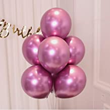 AULE Hot Pink Metallic Chrome Latex Balloons 12 Inch 50 Pcs Happy Birthday Baby Showers Bridal Shower Weddings Bachelorette Party Decorations