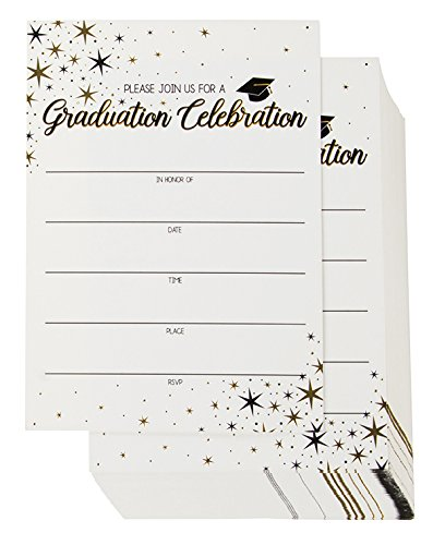 60-Pack Graduation Party Invitations - Graduation Invitations Cards, Graduation Ceremony Announcement Cards, 2018 Graduation Party Favors, Envelopes Included, White, 5 x 7 Inches