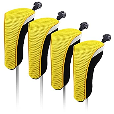 4X Thick Neoprene Hybrid Golf Club Head Cover Headcovers with Interchangeable Number Tags (Yellow)