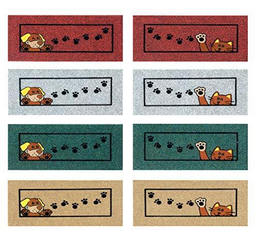 emmevi Felpudo antideslizante salva escalones 25 x 50 absorbente alfombra entrada suave modelo Ischia salvavidas perro beige