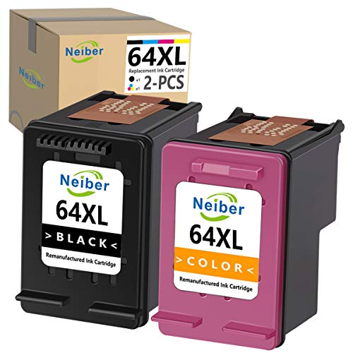 Neiber Remanufactured Ink Cartridge Replacement for HP 64XL 64 XL (Black Tri-Color 2-Pack) Work with Envy Photo 7800 7858 7155 7855 6255 6252 7158 7164 6222 7120 7130 Tango X Smart Home Printer