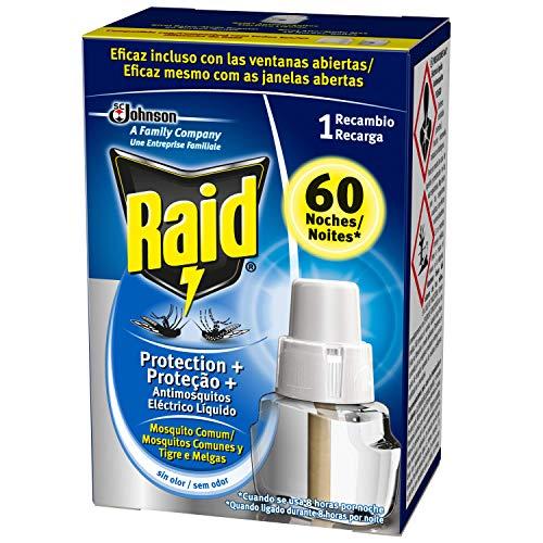 Raid ® Recambio Eléctrico Líquido Protección+ 60 noches - Cargador para aparato anti mosquitos comunes y tigre con difusor regulable