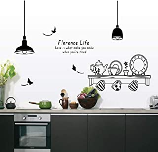 JIERS florence life removable wall stickers kitchen restaurant tea cup cupboard decorative decals wall murals