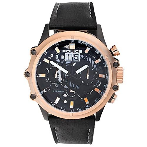 Police Luang P16018JSBR-02 - Reloj de pulsera para hombre de cuarzo, acero inoxidable con correa de piel, color negro