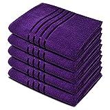 Toallas de baño Towelogy 100% algodón egipcio orgánico Jumbo extra absorbente 500 g/m², algodón, morado (ciruela), Pack de 5