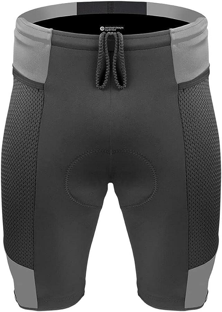 Aero Tech Regular discount Men's Gel Padded Year-end gift Touring w Mesh Shorts Innovative Pock