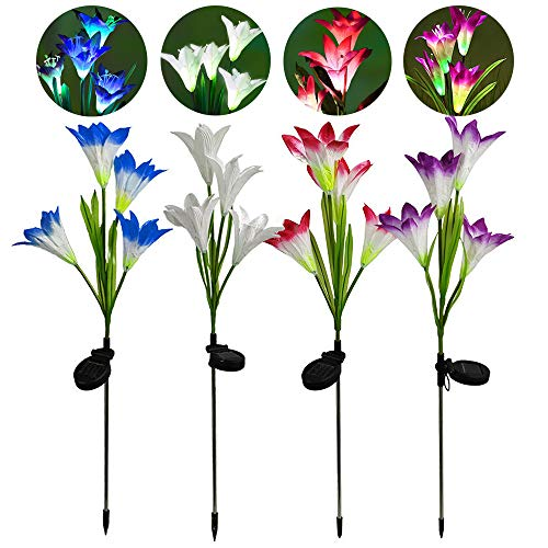 4 Pack Lily Solar Flower Lights, PUDSIRN Upgraded Multi-Color Changing Solar Powered Garden Stake Lights with 16 Bigger Lily Flowers for Garden, Patio, Yard (4pack Pink, White, Blue, Purple)