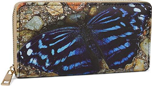 styleBREAKER Damen Geldbörse mit verschiedenen Sommerlichen Motiven, Reißverschluss, Portemonnaie 02040143, Farbe:Schmetterling - Blau-Beige