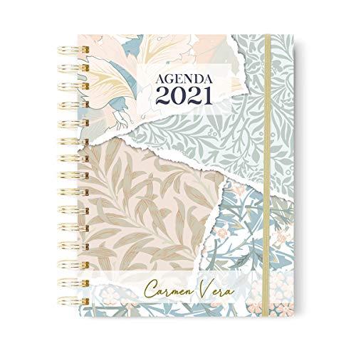 Onepersonal - Agenda Anual 2021 Personalizada | planner Semanal A5 - Flores en Portada y Diseño Minimalista | Tapa Dura con Personalización de Nombre en Stamping