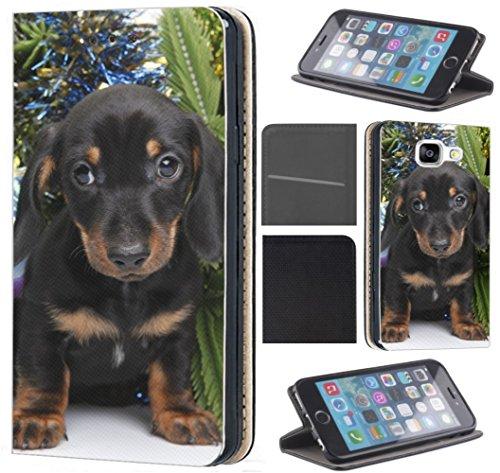 Hülle für Samsung Galaxy A40 Handyhülle Coverfix1 Flipcover Schutzhülle Handycover Handy Case 1587 H& Welpe Schwarz Süß Hülle für Samsung Galaxy A40