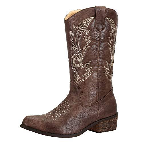 SheSole Damen Cowboy-Stiefel aus Leder - gefütterte Westernstiefel für Damen, hochwertige Damen-Boots mit normaler Schuhform, Braun, 36 EU