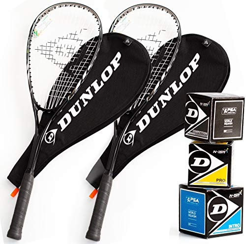 Dunlop Squashset: 2x Squashschläger BIOTEC LITE TI SILVER DELUXE + 2x Schlägerhülle + 3 hochwertige Bälle
