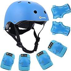 Purpol Kids Adjustable Helmet, with Sports Protective Gear Set Knee Elbow Wrist Pads for Toddler Age 3-8 Boys Girls, Bike Skateboard Hoverboard Scooter Rollerblading Helmet Set (Blue)