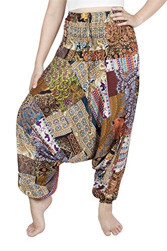 Lofbaz Jumpsuit Pantalones Parche Harem de Cintura Smocked del Pavo Real para Mujeres Una Talla - Amarillo - OS